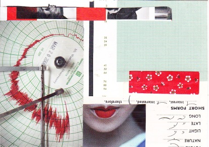 origami paper, magazine images, shorthand, and other random bits